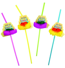Party Partners Party Straws 12Pk Crepe Paper Birthday Cakes by Party Partners