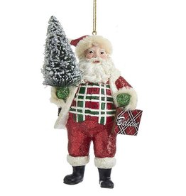 Kurt Adler Classic Plaid Santa Ornament Christmas Tree W Believe Sign