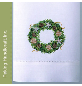 Peking Handicraft Christmas Hand Towel 08WC Shell Wreath Guest Towel