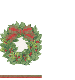 Caspari Paper Guest Napkins 15pk 12070G Christmas Holly Wreath