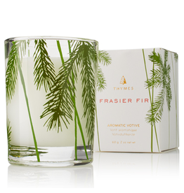 Thymes Frasier Fir Votive Candles 2 Oz Glass Pine Needle Design