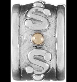 Chamilia Lock Gold Dot Charm Sterling 14K MC-21 Chamilia