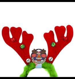 DM Merchandising Reindeer Antler Headband w Jingle Bells n Furry Feathers - Green