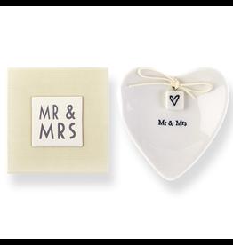 East of India Porcelian Heart Ring Dish Keepsake w Mr Mrs E2068 East of India
