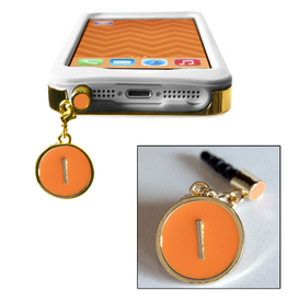 TECH Candy Phone Charms Earphone Jack Jewelry Initial I Silver Orange