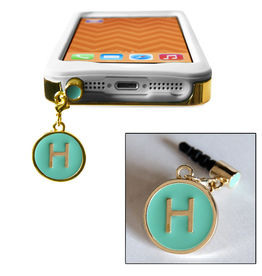 TECH Candy Phone Charms Earphone Jack Jewelry Initiial H Gold Teal