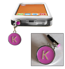 TECH Candy Phone Charms Earphone Jack Jewelry Initiial K Silver Pink