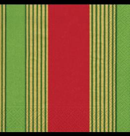 Caspari Christmas Paper Luncheon Napkins 20pk Riviera Stripe