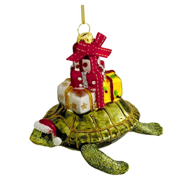 Kurt Adler Glass Sea Turtle With Gifts Ornament 4 Inch Noble Gems