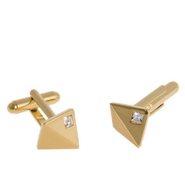 Annaleece Cuff Links Edgy Gold w Crystals by Annaleece Mens Collection
