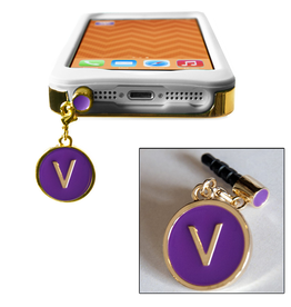 TECH Candy Phone Charms Earphone Jack Jewelry Letter V Gold Purple