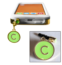 TECH Candy Phone Charms Earphone Jack Jewelry Initial C Gold Green