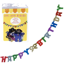 Party Partners Itty Bitty Banner Happy Birthday 20 inch Jointed by Party Partners