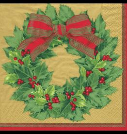 Caspari Paper Cocktail Napkins 12071C Holly Wreath Gold 20pk