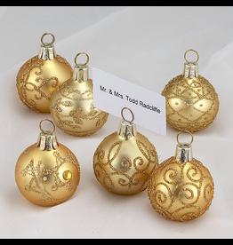 Kurt Adler Christmas Place Card Holders Gold Ball Ornaments Set of 6