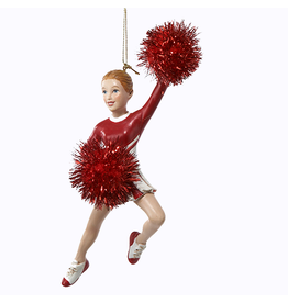 Kurt Adler Cheerleader w Pom Poms Christmas Ornament - Red
