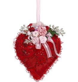 Mark Roberts Fairies Valentine Heart W Flowers Hanging Decoration 11.5 Inch