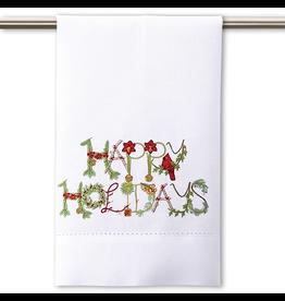 Peking Handicraft Christmas Hand-Guest Towel Happy Holidays 14x22