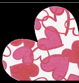 Caspari Valentines Paper Linen Napkins 15pk Painted Hearts Shaped Die Cut