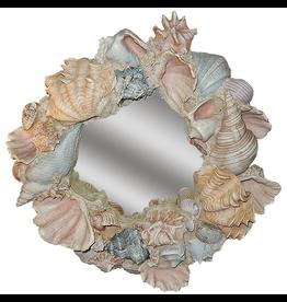 Decorative Treasures Sculpted Shells Round Mirror 27 Diameter