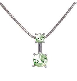 Annaleece Necklace Sweet Light Green Rhodium Pendant with Crystals