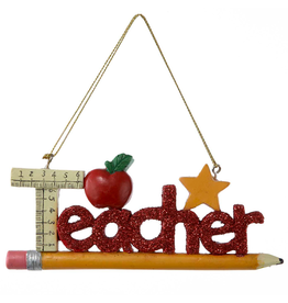 Kurt Adler Red Glitter Teacher Ornament Teacher Word on Pencil C8503 Kurt Adler