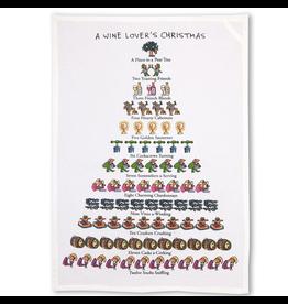 Peking Handicraft A Wine Lovers 12 Days of Christmas Kitchen Tea Towel