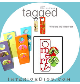 Tagged Wine Tote Coaster Set Merry