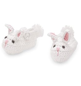 Mud Pie White And Pink Bunny Crochet Knit Booties 0-3 Months