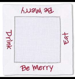 Peking Handicraft Christmas Linen Cocktail Napkins Eat Drink Be Merry