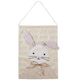 Mud Pie Happy Bunny Canvas Door Hanger 16.5x12 Inch