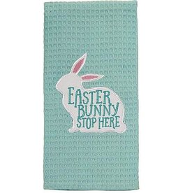 Mud Pie Easter Waffle Weave Hand Dish Towel Easter Bunny Stop Here