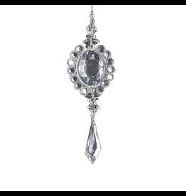 Kurt Adler Gem Drop Ornament Silver Oval  D1819-A Kurt Adler