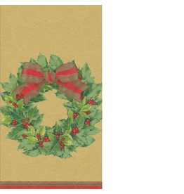 Caspari Paper Guest Napkins 15pk 12071G Christmas Holly Wreath