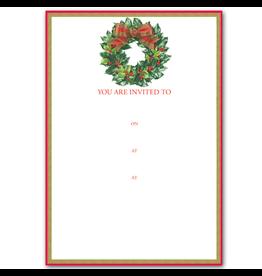Caspari Holiday Party Invitations Holly Wreath Invites 8pk