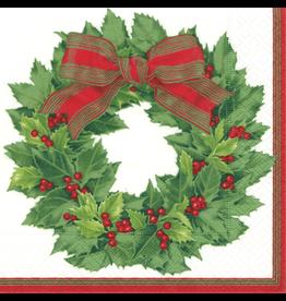 Caspari Paper Cocktail Napkins 12070C Holly Wreath Ivory 20pk