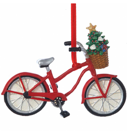 Kurt Adler Bicycle With Christmas Tree in Basket Ornament 4 Inch