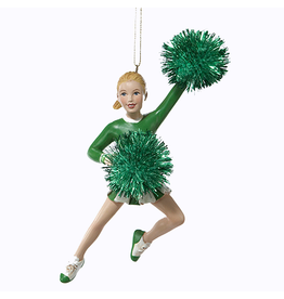 Kurt Adler Cheerleader w Pom Poms Christmas Ornament - Green