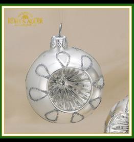 Kurt Adler Silver Ball Ornament Blown Glass Reflectors Set Ball -A