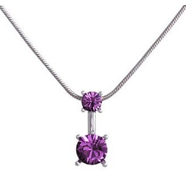 Annaleece Necklace Sweet Amethyst Rhodium Pendant with Crystals