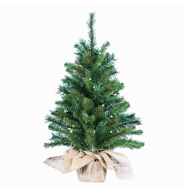 Kurt Adler Christmas Tree Pre-Lit 30 Inch Pine Clear Bulbs Burlap Base