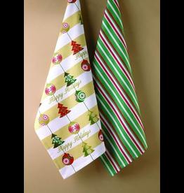 Peking Handicraft Christmas Towels Set Happy Holiday and Stripes Set of 2