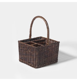 Department 56 Wicker Basket 4  Compartment Caddy 11.75X11X17