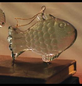 Kalalou Hanging Glass Fish Ornament 5.5x4 inch