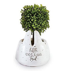 Mud Pie Faux Boxwood Topiary In Mini Bunny Pot W Little Cotton Tail