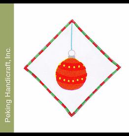 Peking Handicraft Linen Cocktail Napkin   20GV-B Glitterville Ball Ornament Napkin
