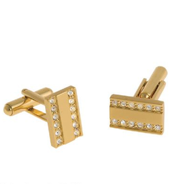 Annaleece Cuff Links Executive Gold w Crystals Mens Collection