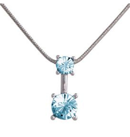 Annaleece Necklace Sweet Aquamarine Rhodium Pendant Necklace w Crystals
