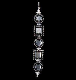 Kurt Adler Black and Silver Gemstone Ornament Square Round D1815-B Kurt Adler