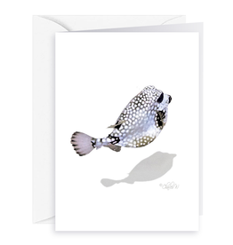 By The Seas-N Greetings Blank Note Card - Cash - Gift Card Holder - Puffer Fish